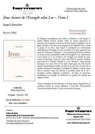 C.PJésus, lecture de l'Évangile selon Luc – Tome I 16.17.59