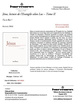 C.PJésus, lecture de l'Évangile selon Luc – Tome II 16.17.59
